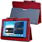 For Samsung Galaxy Note 10.1 (2012 edition ) GT N8013 N8000 Flip case cover - SCH-I925 Folio stand back book cover for GT-N8010 N8005 N8020 Tablet pu leather case (Red)