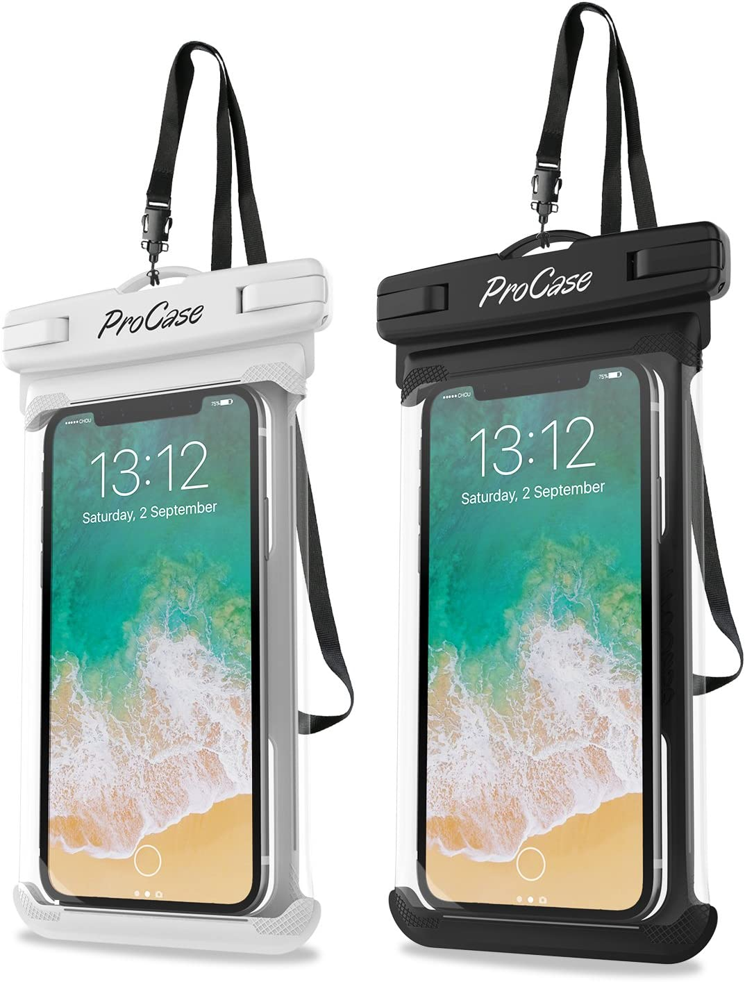 """ProCase Universal Waterproof Case Cellphone Dry Bag Pouch for iPhone 11 Pro Max Xs Max XR XS X 8 7 6S Plus SE 2020, Galaxy S20 Ultra S10 S9 S8 +/Note 10+ 9, Pixel 4 XL up to 6.9""""- 2 Pack, White/Black"""
