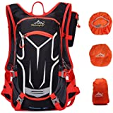 Jarvan Cycling Backpack,18L Water-resistant Ultralight Breathable Bicycle Backpack For Outdoor Sports Running Travelling Mountaineering,Bike Rucksack with Helmet Net,Phone Bag, Rain Cover (Red)