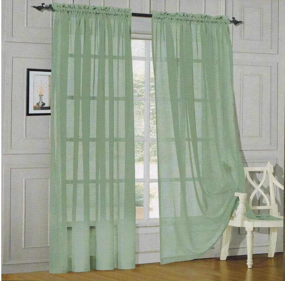 Outdoor curtain rods wholesale los angeles - Amazon Com Elegant Comfort 2 Piece Solid Sheer Panel With Rod Pocket Window Curtain 60 Inch Width X 84 Inch Length Sage Home Kitchen