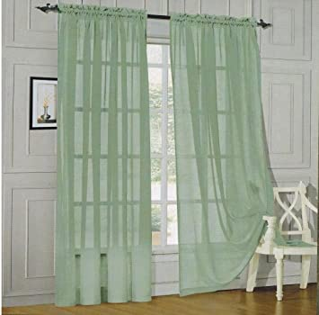 4 Piece Solid Jade Green Sheer Curtains Fully Stitched Panels Window Drape 54quot