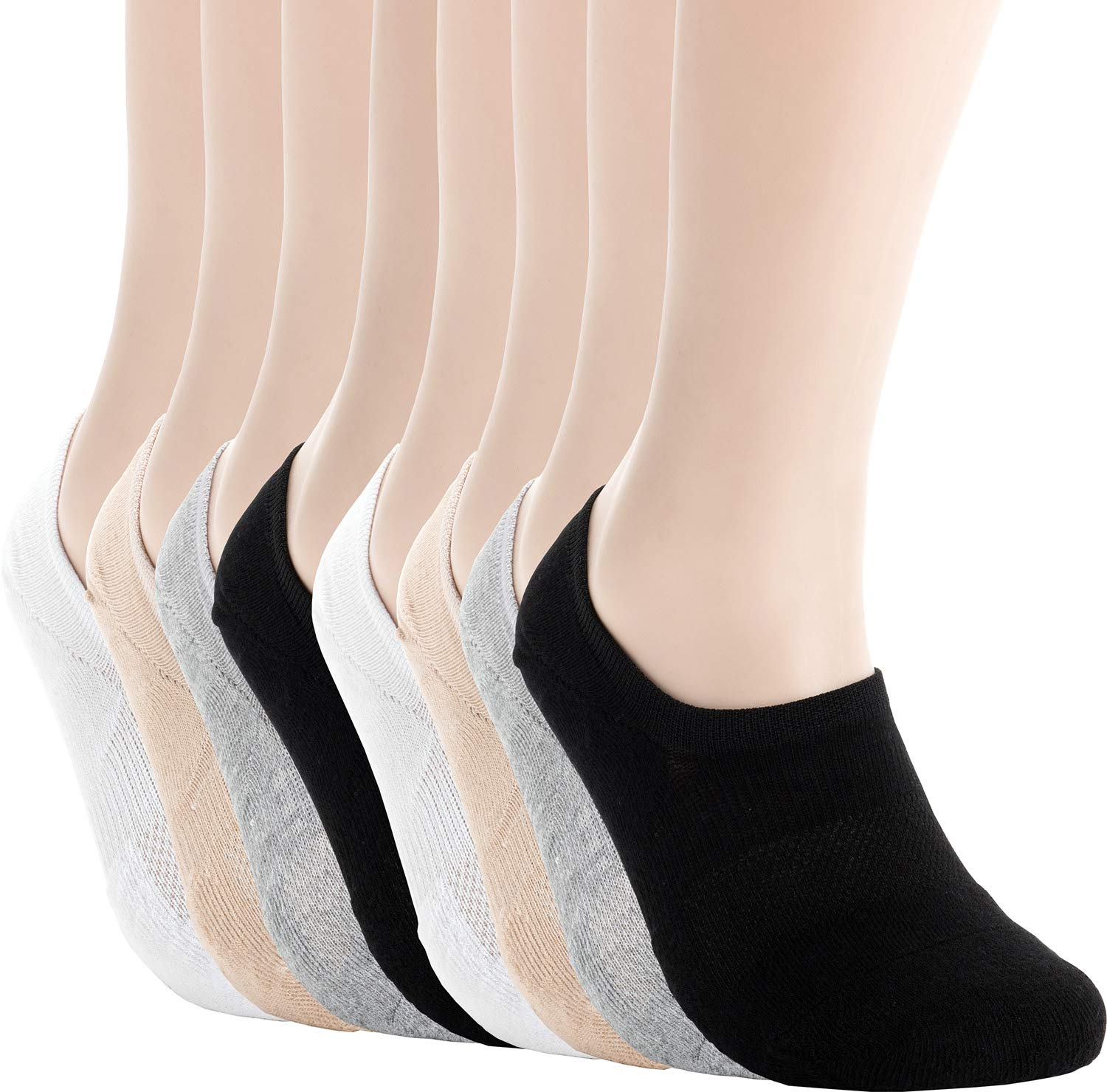Pro Mountain Women's No Show Flat Cushion Cotton Footies Sneakers Sports Socks (S(US Women Shoes 5.5~7.5), Black White Grey Beige assorted 2 each total 8 pairs Pack S size) by Pro Mountain