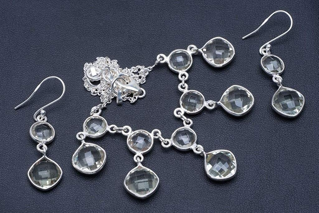 Natural Green Amethyst 925 Sterling Silver Jewelry Set Necklace 17 Earrings 1.75 A3522