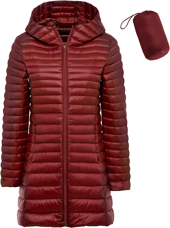sunseen Womens Packable Down Coat Lightweight Plus Size Puffer Jacket Hooded Slim Warm Outdoor Sports Travel Parka Outerwear