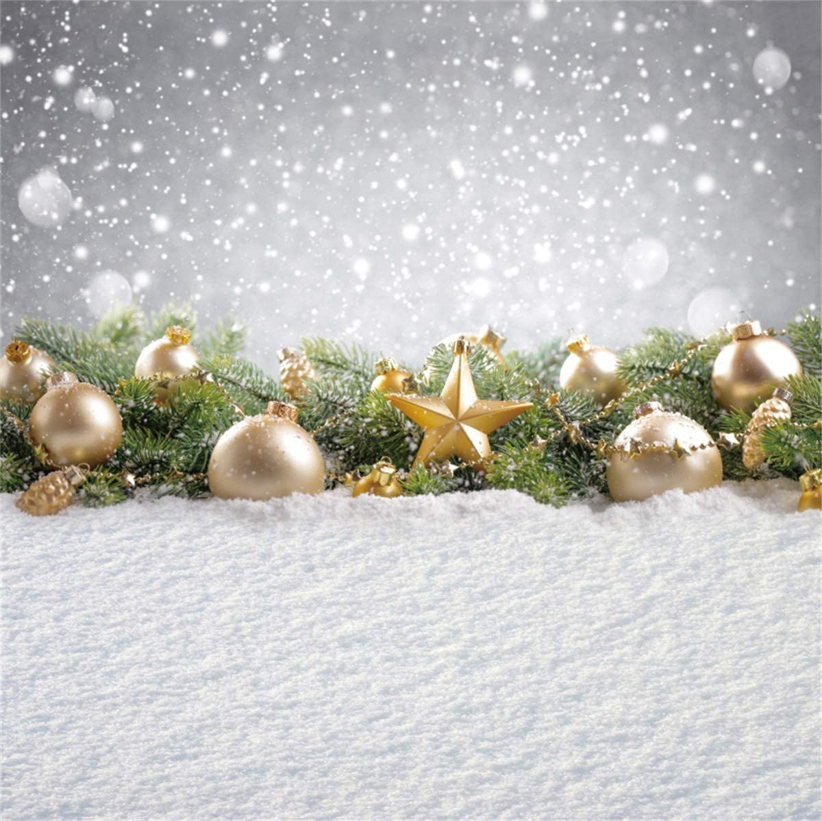 YEELE 10x10ft Merry Christmas Photography Background Green Fir Tree Braches Bird Backdrop Kids Adults Portrait Xmas Holiday Pictures Photo Booth Props Digital Wallpaper