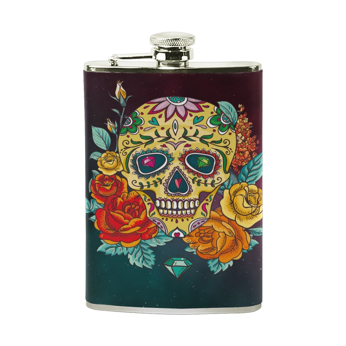 手数料安い Flower Flasks catヒップフラスコ8オンススチールポケットボトルセットレザーWrapped Flasks Leak Drinking Proof ForメンズレディースLiquor Shot Drinking Flower 15.6cm*9.6cm (H*L) FENNEN-10 Space Skull B07CZW5JKB, ラミネート専門店TOSショップ:baf59e7c --- vezam.lt