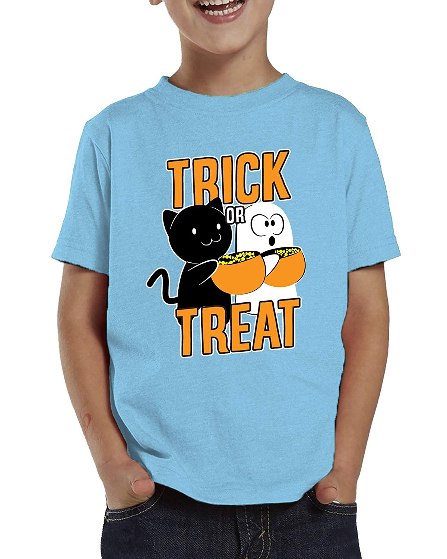 SpiritForged Apparel Trick Treat Cute Cat /& Ghost Toddler T-Shirt