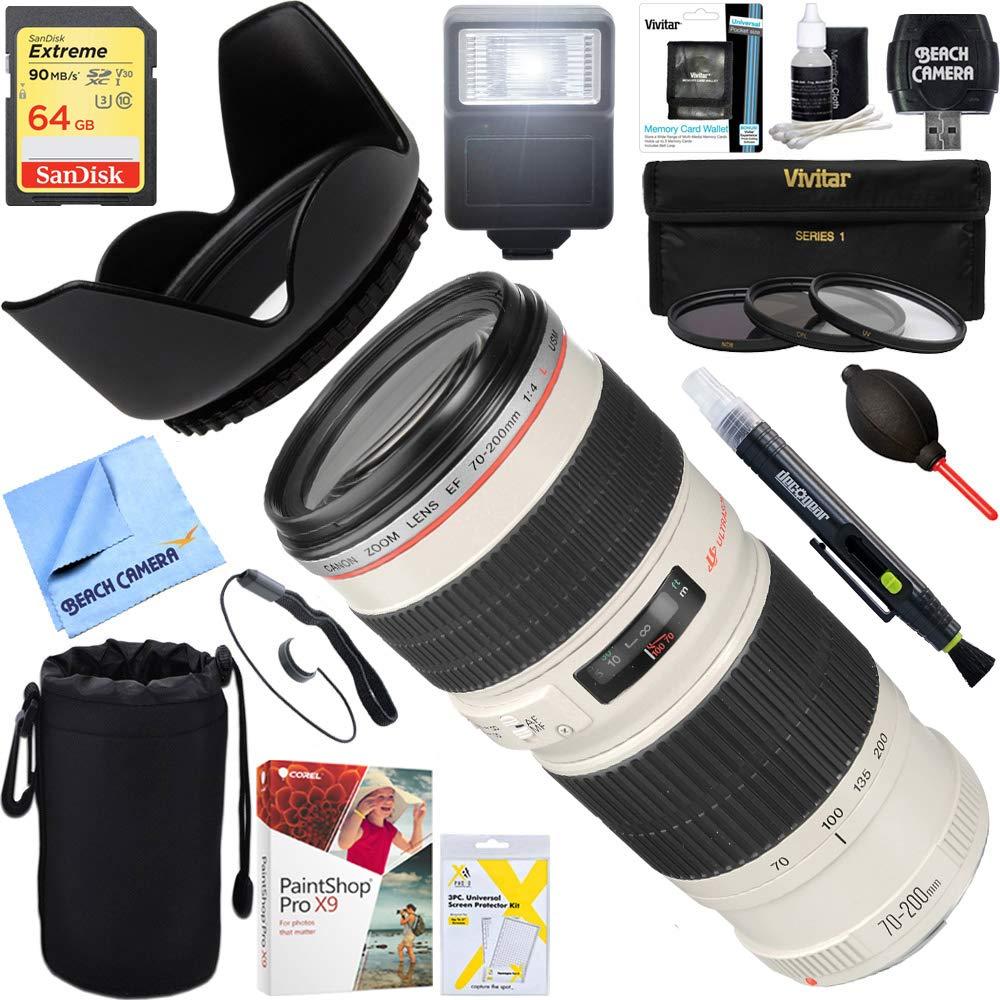 Canon EF 70 – 200 mm f / 4.0 L USMレンズ+ 64 GB究極フィルタ&フラッシュ写真バンドル   B06XQPQ5M5