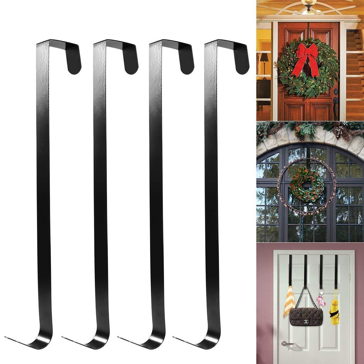 HOMEMAXS All Purpose Metal Wreath Hanger Over The Door Wreath Holder 12inch 4 Packs Black Large