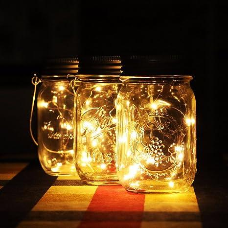2 unidades Mason Jar luz (Mason Jar y mango incluido) botes de cristal Solar