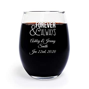 24 pack personalized color printed forever and always 9 oz stemless wine glass wedding favor