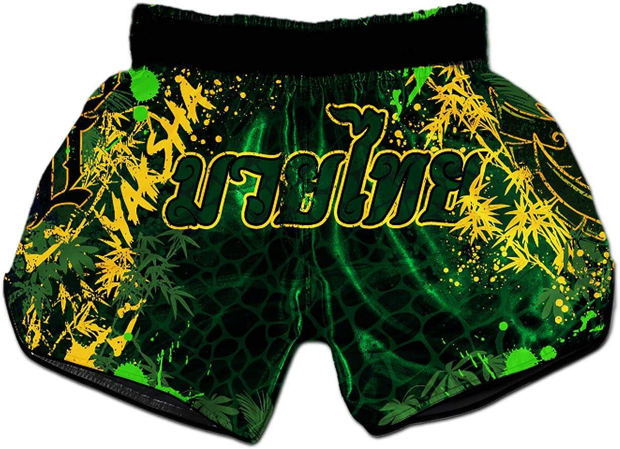 SOTF Muay Thai Fight Shorts for Kids Men Elastic Waist Kickboxing MMA Shorts