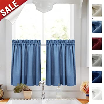 Amazoncom 36 Inch Tiers Curtains Semi Sheer Kitchen Curtains