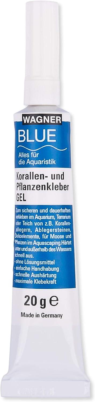 Wagner Blue Colla corallo/colla per piante gel 20 g, per muschio e piante in qualsiasi acquario d'acqua dolce, colla istantanea, colla per acquario, Aquascaping, molto efficace