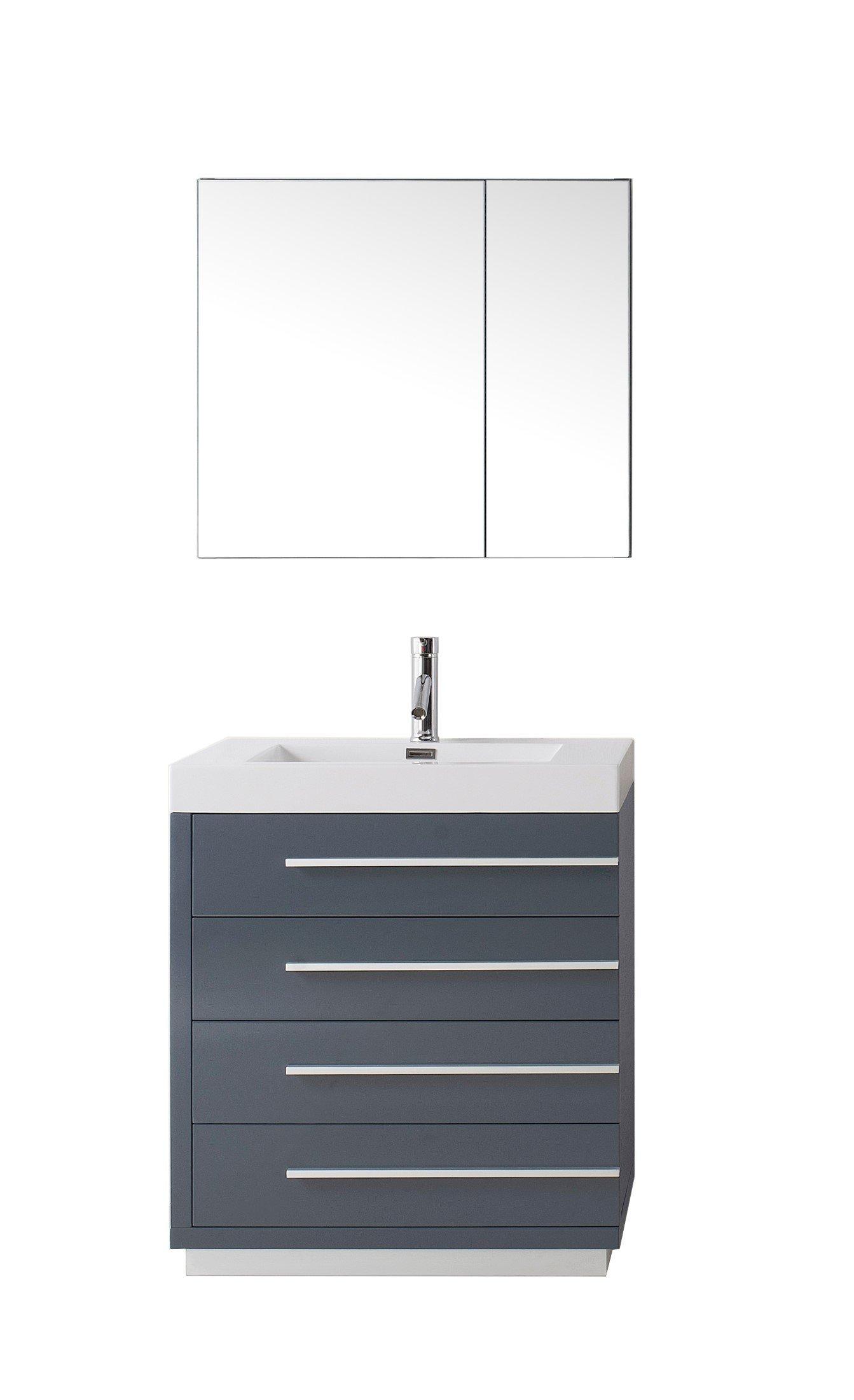 Virtu USA JS-50530-GR Modern 30-Inch Single Sink Bathroom Vanity Set with Polished Chrome Faucet, Grey