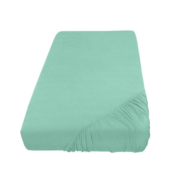 Sábana bajera ajustable, lino – En Todos Los Colores y Tamaños – 100% algodón, 100% algodón, grayed jade / mint, 180-200 x 200 cm