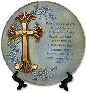 THE NIFTY NOOK Religious Decorative Plate With Gold Cross & Stand - Prayer, Gift, Bible Verse John 3:16 (Gold Cross)
