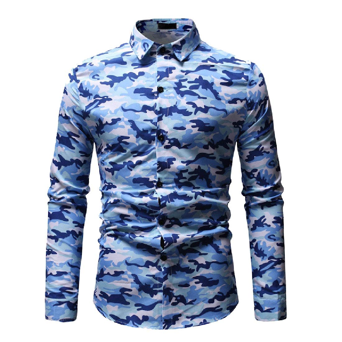 Nicelly Mens Long Sleeve Printed Lapel Button-Down Leisure T-Shirts Shirts