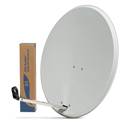 80cm HD Satellite Dish for Sky Freesat Hotbird Astra TV signals Hi-Gain &  Pole Mount Fittings WHITE - Sky satellites (White)