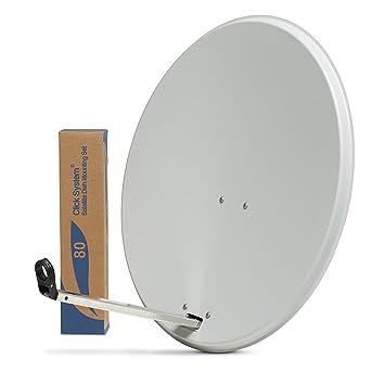 Sky Satellites 80cm HD Satellite Dish for Sky Freesat Hotbird Astra TV  signals Hi-Gain & Pole Mount Fittings White