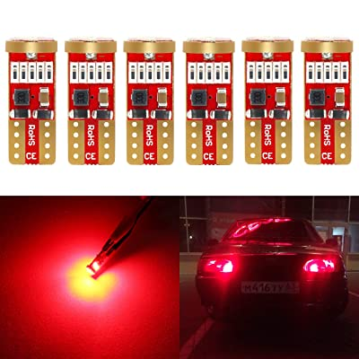 Phinlion 194 Red LED bulb Super Bright 168 175 2825 T10 15-SMD 4014 Chipsets Wedge LED Replacement Bulbs for Dome Map Reading Courtesy Trunk Parking Tail License Plate Lights, Pack of 6: Automotive