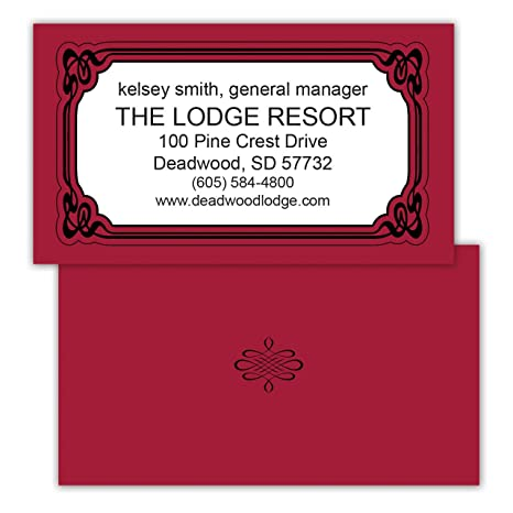 red premium personalized business cards with black lined border 250 full color design on front - Engraved Business Cards