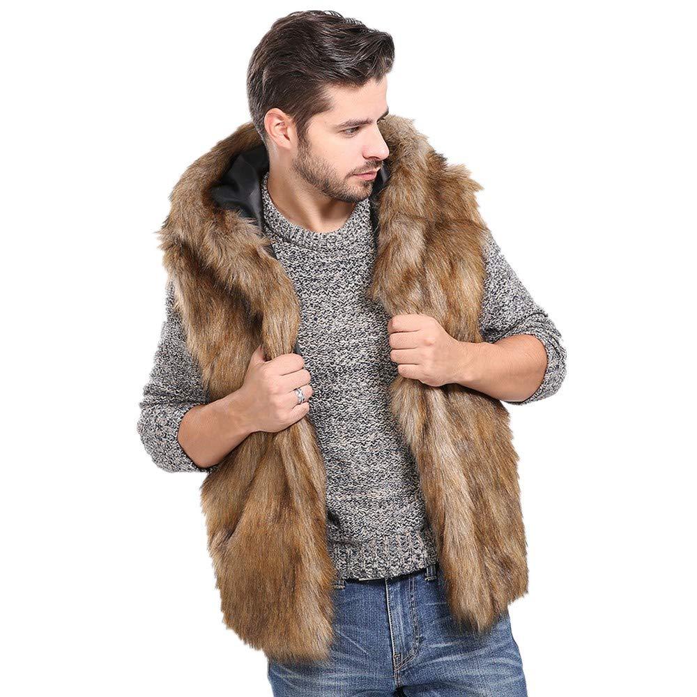 Allywit Mens Faux Fur Coat Fur Vest Winter Parka Warm Coat Sleeveless Jacket Big and Tall