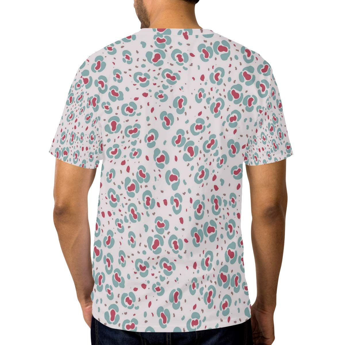 Horatiood Huberyyd White Petals Leopard Print Mens T Shirts Graphic Funny Body Print Short T-Shirt Unisex Pullover Blouse