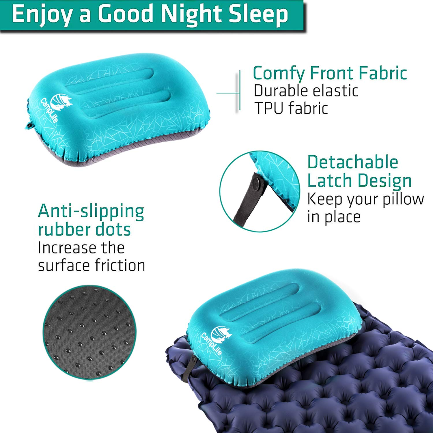 Ultralight Inflatable Camping Travel Pillow Backpacking ALUFT 2.0 Compressible Comfortable Ergonomic Inflating Pillows for Neck /& Lumbar Support While Camp Compact Hiking Blue