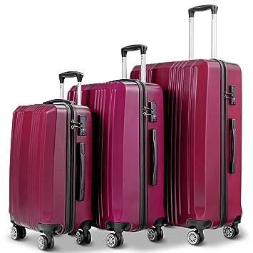 1c974377d0c2 Goplus 3PCS Luggage Set Expandable Lightweight Hardside Suitcase w/TSA Lock  (Wine)