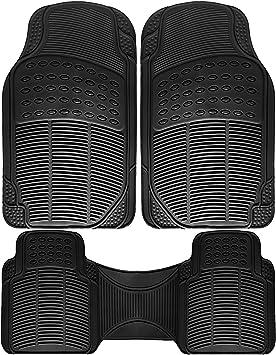 Front /& Rear 3pc Full Set Heavy Duty Rubber Floor Mats Universal Fit Mat for Car Van SUV Trucks Driver /& Passenger