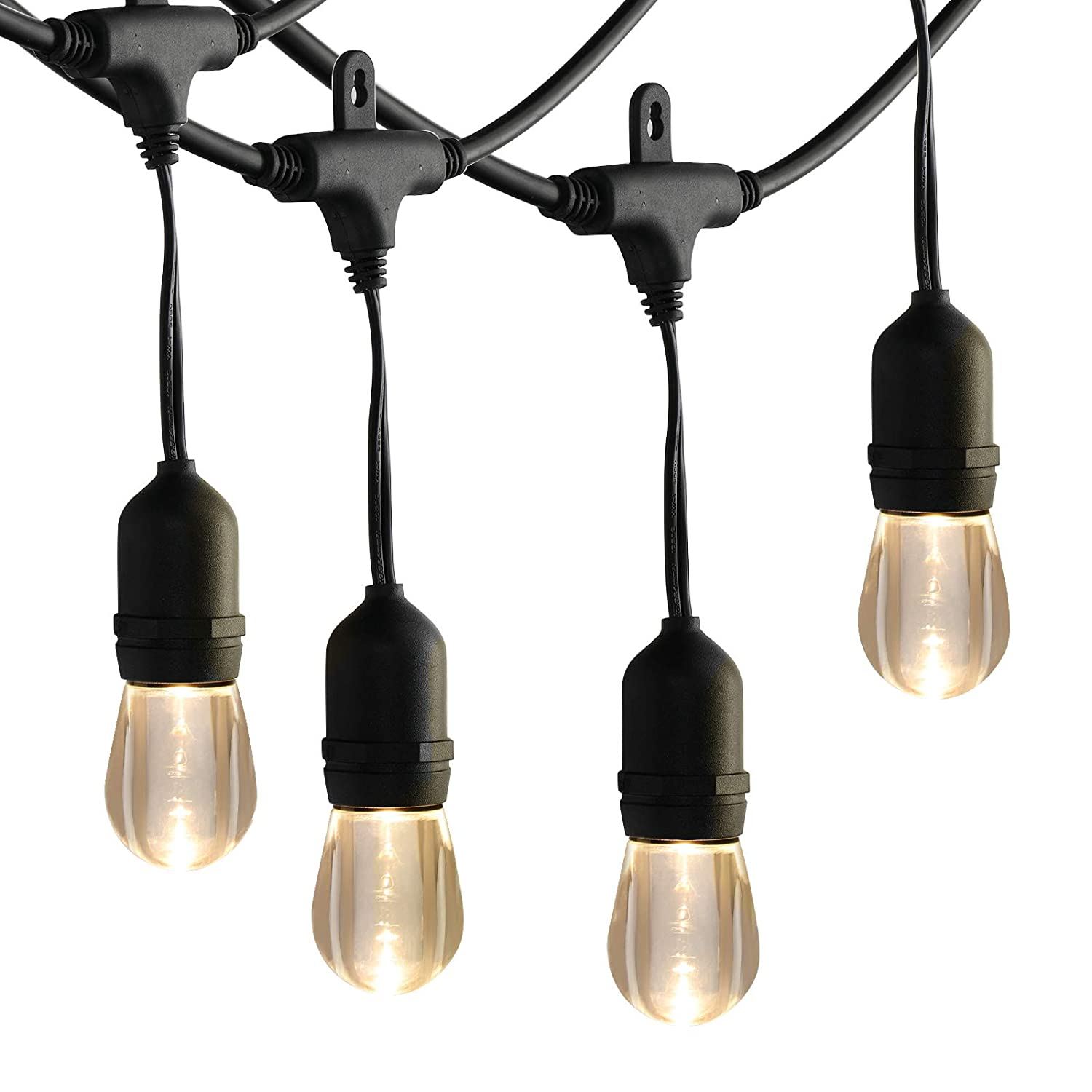 UL Listed 2ft Bulb Space Commercial Grade Hanging Patio Lights for Backyard Porch Bistro Pool Wedding 24ft 12 Acrylic Shatterproof S14 Bulbs DEWENWILS Waterproof LED String Lights Outdoor