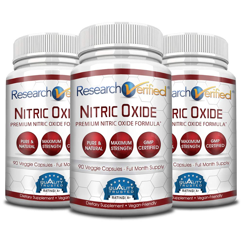 Research Verified Nitric Oxide - With L-Arginine and L-Citrulline - Premium Muscle Building Nitric Oxide Booster - 3 Months Supply ... by Research Verified