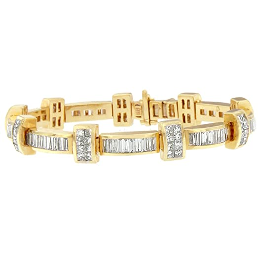Amazon 14K Yellow Gold Princess and Baguette Cut Diamond Bar
