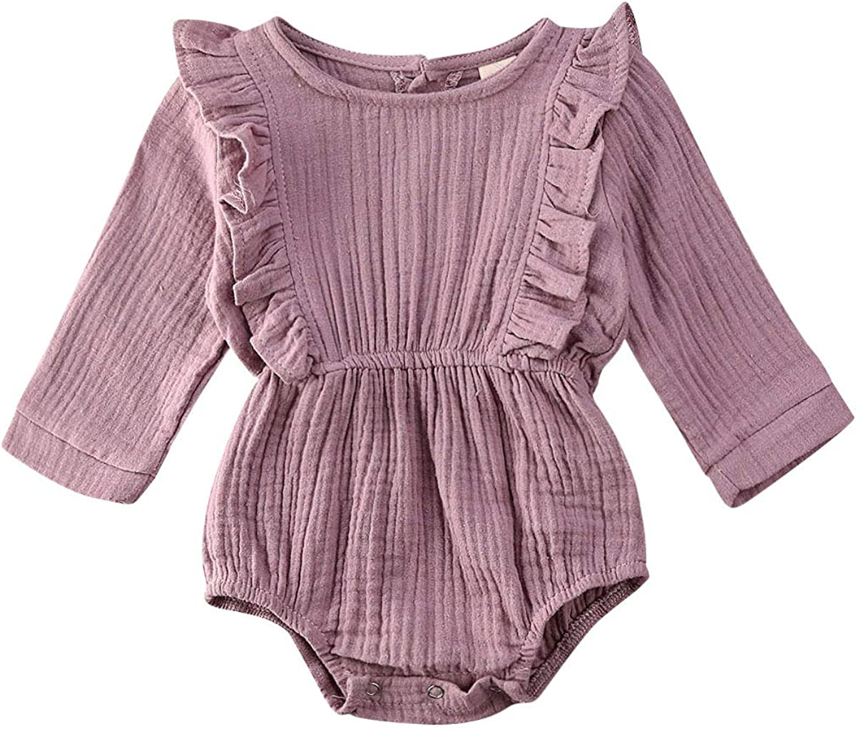 TNGXXWL Newborn Baby Girl Cotton Ruffled Romper Top Long Sleeve Solid Color Jumpsuit Outfit Clothes