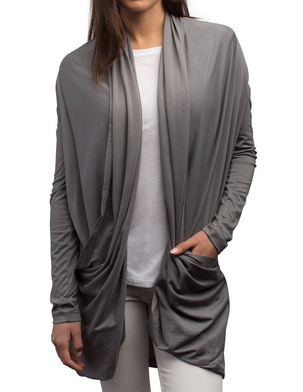 SCOTTeVEST Madeline Cardigan - 4 Pockets - Travel Clothing, Sweater GRY S