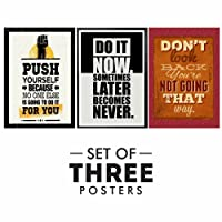 PRINTELLIGENT Motivational Posters - Set of 3 Inspirational Wall Quotes Quotes Decorative Poster