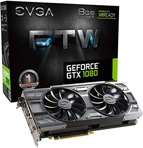 EVGA GeForce GTX 1080 FTW GAMING ACX 3.0, 8GB GDDR5X, RGB LED, 10CM FAN, 10 Power Phases, Double BIOS, DX12 OSD Support (PXOC) Graphics Card ...