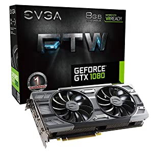 EVGA GeForce GTX 1080 FTW GAMING ACX 3.0, 8GB GDDR5X, RGB LED, 10CM FAN, 10 Power Phases, Double BIOS, DX12 OSD Support (PXOC) Graphics Card 08G-P4-6286-KR