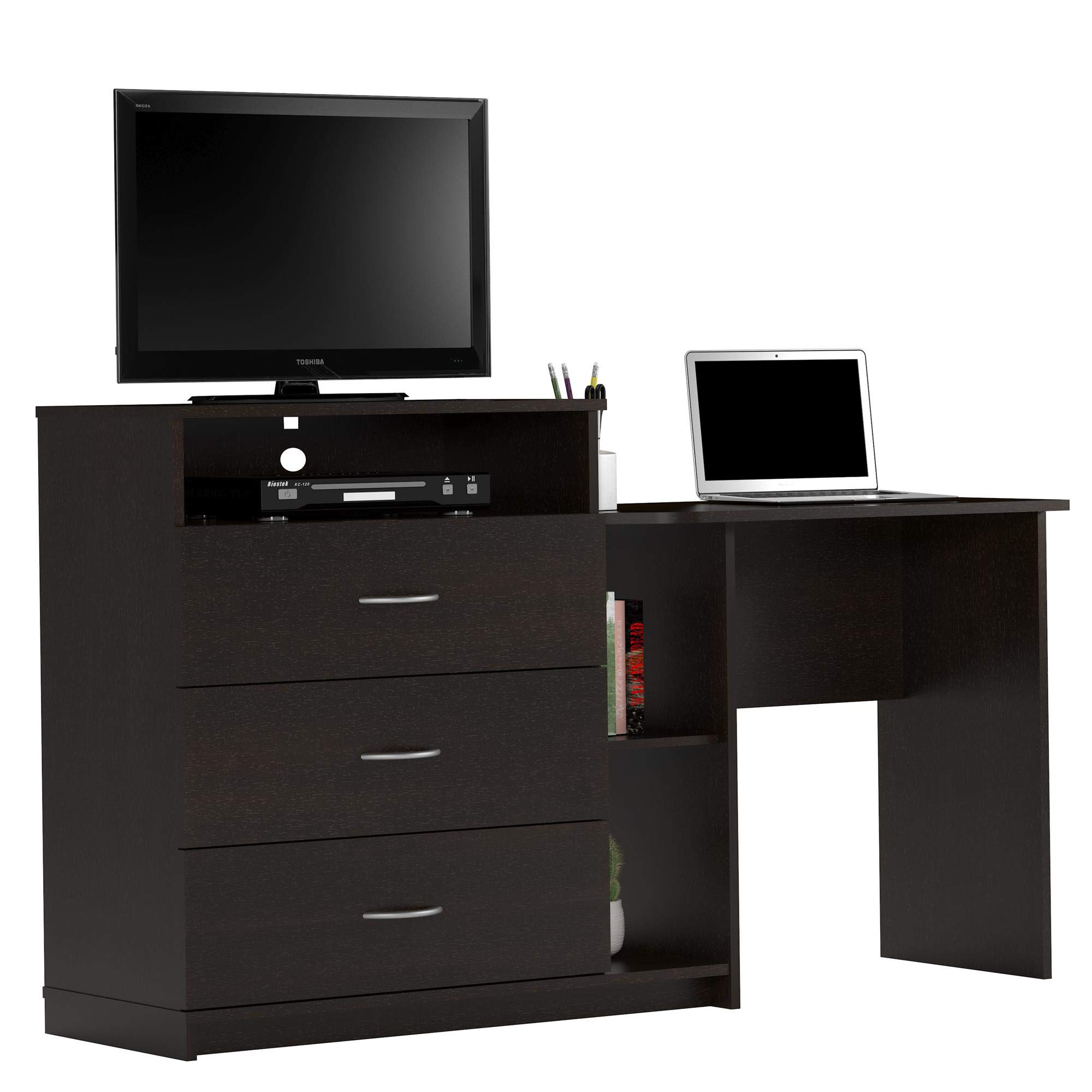 Ameriwood Home 9866012COM Rebel Media Dresser and Desk, Espresso