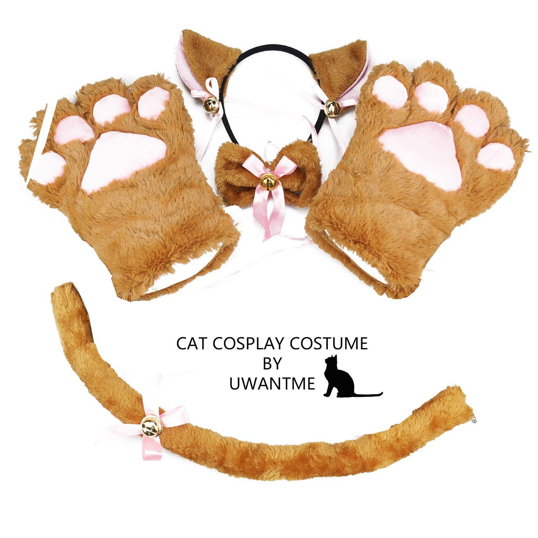 UWANTME Cat Cosplay Costume Kitten Tail Ears Collar Paws Gloves Anime Lolita Gothic Set UWM-001-Black