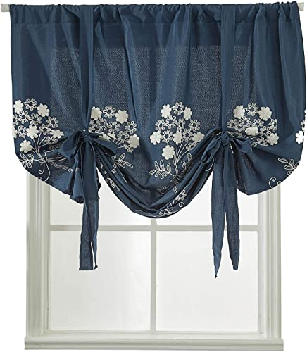 Navy Blue Floral Tie Up Window Curtains Shades for Kitchen Windows Blackout Balloon Valances Thermal Room Darkening Drapes Embroidered Curtains for Bedroom Nursery Living Room Windows 63 Inch Length
