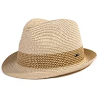 4150ec1e27b SiggiHat Panama Summer Fedora Trilby Straw Sun Hats For Men Safari Beach Hat  - Foldable