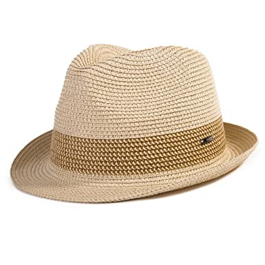2b13a78cced Unisex Panama Straw Summer Fedora Sun Hat Foldable Beach Trilby Short Brim  Vintage For Men Beige
