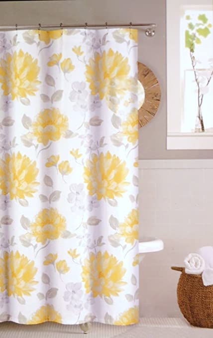 Nicole Miller Shower Curtain Fabric 72 X 72quot Hampton Court Floral Yellow Grey White