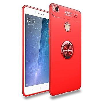 XiaoMi Mi MAX 2 Funda, Navegación del Coche Silicona Carcasa, Magnético 360°Giratorio Anillo Hebilla Metal Soporte Case Cover para XiaoMi Mi MAX 2 ...