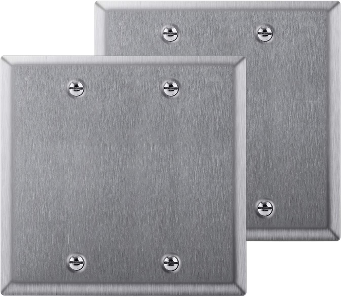 [2 Pack] BESTTEN 2-Gang No Device Blank Metal Wall Plate, Anti-Corrosion Stainless Steel Outlet Cover, Industrial Grade 304SS, Standard Size, Screw Included, Silver