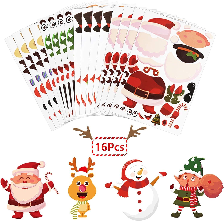 ZERHOK 16 Hojas DIY Pegatinas Infantiles Navidad de Papá Noel/Muñeco de Nieve/Duende/Reno Christmas Children Stickers para Fiesta Familiar Regalo Niños Navideño Recompensas de Clase