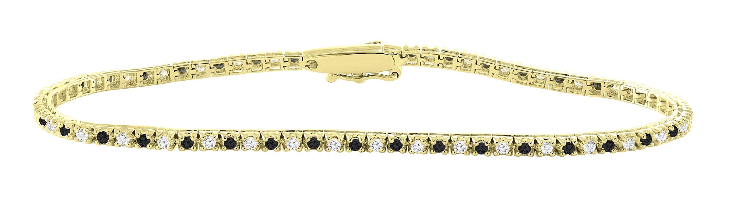 14K Yellow Gold 1.00 Carat (ctw) Real Natural Black & White Diamond Tennis Bracelet For Women 7 Inches