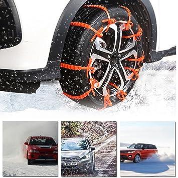 Cadena antideslizante de neumáticos para la nieve, de la marca 10 Xcar, hecha de nailon: Amazon.es: Coche y moto